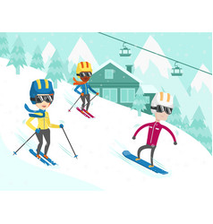 Multicultural people skiing and snowboarding vector