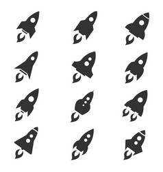 rocket icon flat style set vector image vector image