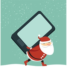 Santa holding smartphone vector image