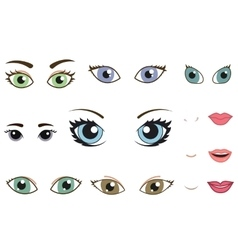 Set of different human eyes eyebrows noses and vector image vector image