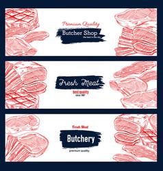 fresh meat sketch banner for butchery shop design vector image vector image