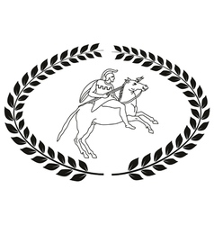 Hand drawn logo with the ancient Greek warrior vector image