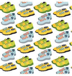 seamless pattern with sneaker shoe color flat vector image