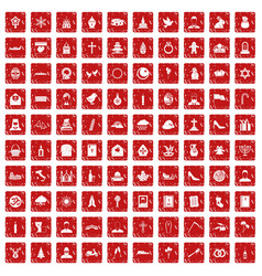 100 church icons set grunge red vector
