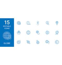 15 globe icons vector image