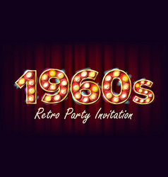 1960s retro party invitation 1960 style vector