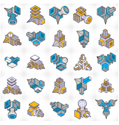 3d designs abstract shapes set vector image