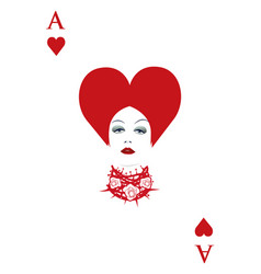 Ace of hearts with a womans face and necklace vector