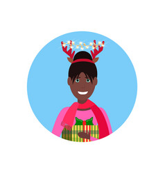 african american woman deer horns face avatar new vector image