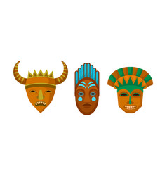 African ethnic tribal masks set on white vector