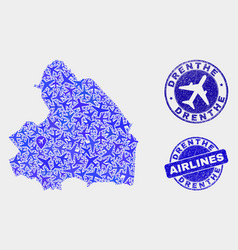Airlines mosaic drenprovince map and vector