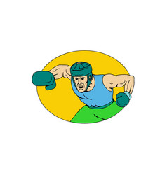 Amateur boxer knockout punch drawing vector
