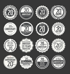 Anniversary retro labels 20 years collection 2 vector