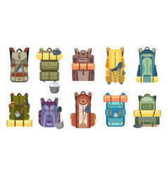 Backpack or rucksack with tourist equipment icons vector
