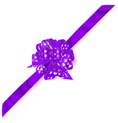 Big corner bow made of ribbon with small hearts vector