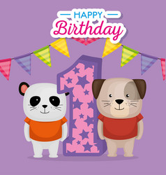 birthday card with candle number vector image