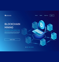 Blockchain mining cryptography coins currency vector