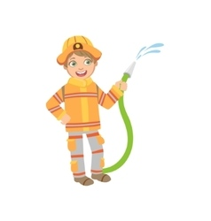 Boy Dressed As Fireman With Hose vector