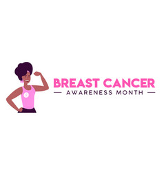Breast cancer month women fight concept web banner vector