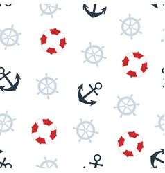 cartoon seamless nautical pattern on white vector image