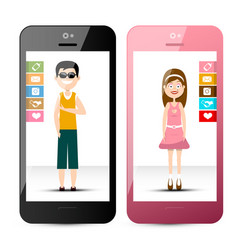 Cellphones with man and woman mobile phones wit vector