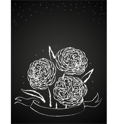 Chalk flowers on blackboard vector