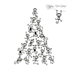 Christmas tree with funny monkeys for your design vector