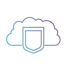 Cloud storage data protection shield icon in color vector