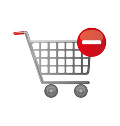 color silhouette with shopping cart and minus sign vector image