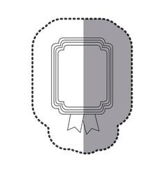 contour square emblem with ribbon icon vector image