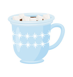 cup of hot chocolate with marshmallows blue vector image