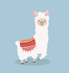 Cute lama alpaca fluffy vector