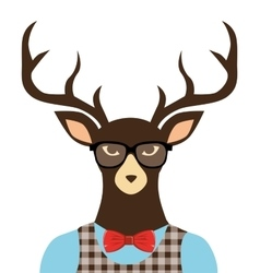 Deer hipster dressed glasses vector