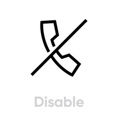 Disable phone icon editable line vector