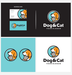 Dog and cat logo design template vector