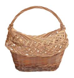 Empty brown wicker basket isolated vector