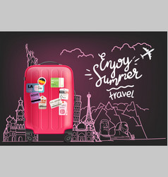enjoy summer travel logo world tour concept vector image