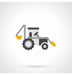 Farm excavator flat color icon vector image