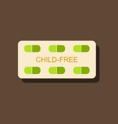 Flat icon design birth control pills in sticker vector