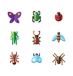 flat insect bug icons vector image