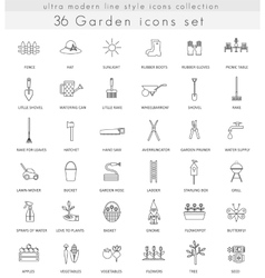 Garden ultra modern outline line icons for vector image