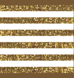 Glitter striped pattern with sparkly gold effect vector
