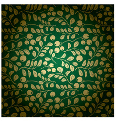 Gold and green background - floral pattern vector