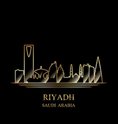 gold silhouette of riyadh on black background vector image