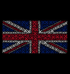 great britain flag collage of crossing swords vector image