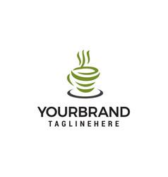 green tea logo design concept template vector image