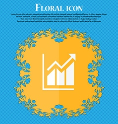 Growing bar chart icon Floral flat design on a vector image