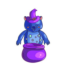 halloween witch bear character vector image