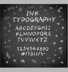 hand-drawn ink sketch font on blackboard vector image