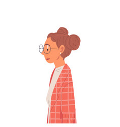 hipster girl in glasses wearing old fashioned vector image
